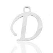 Bedel initial letter D RVS zilver