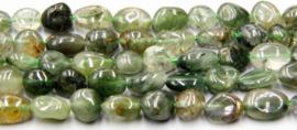 Natuursteen nugget kralen groen Rulitated Quartz 10 stuks 4-8 mm