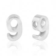 Cijferkraal 9 zilver RVS