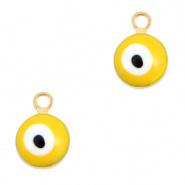 Bedel evil eye geel goud 6 mm