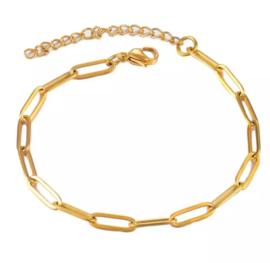 Armband 18 cm goud RVS schakelarmband