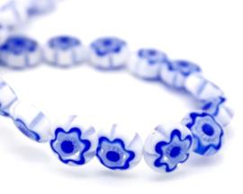 Millefiori kralen bloem wit blauw 8 mm disc