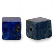 Natuursteen kralen square blauw donker 4 mm
