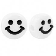 Letterkraal smiley wit zwart 7 mm