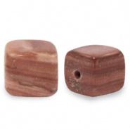 Natuursteen kralen square bruin soft 4 mm