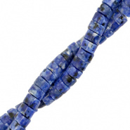 Natuursteen kralen disc 4 mm blauw donker marble