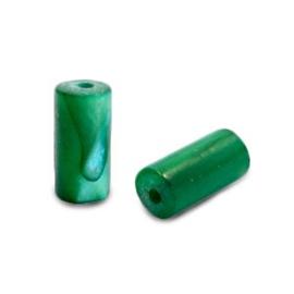 Schelp kraal groen petrol 8x4 mm tube