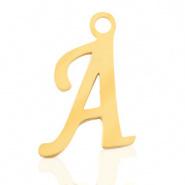Bedel letter A RVS goudkleurig
