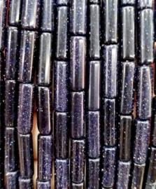 Natuursteen kralen tubes blauw glitter