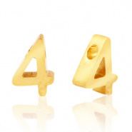Cijferkraal 4 goudkleurig RVS