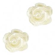Bloem kraal ivoor creamy pearl shine roosje 6 mm