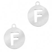 Bedel initial F zilver RVS