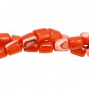 Schelp kraal oranje spicy 4x3,5 mm tube