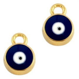 Bedel evil eye blauw goudkleurig