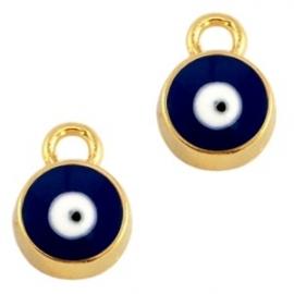 Bedel evil eye blauw donker goud