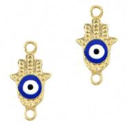 Bedel evil eye hamsa hand blauw goud DQ connector