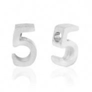 Cijferkraal 5 zilver RVS