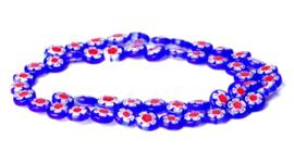 Millefiori kralen bloem blauw donker rood 8 mm disc
