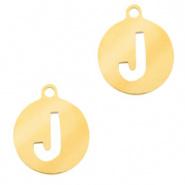 Bedel initial J goudkleurig RVS