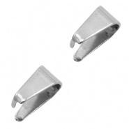 Klemmetje voor hanger zilver 9x5,5 mm RVS 10 stuks