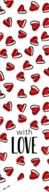 "Stickers ""with love"" red hearts"