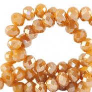 Facetkraal oranje bleached apricot 4x3 mm 130 stuks