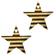 Bedel ster stripes zwart goudkleurig