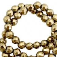 Kraal goud antiek facet 4 mm hematite