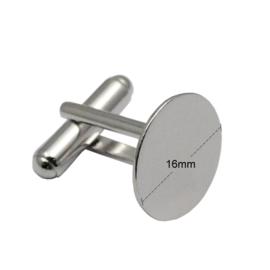 Manchetknoop 16 mm zilver licht