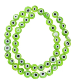 Evil eye kralen groen 7 mm glas