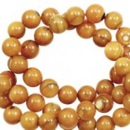 Schelp kraal goud orange 4 mm