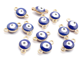 Bedel evil eye blauw donker goud 6 mm connector
