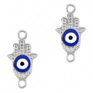 Bedel evil eye hamsa hand blauw zilver DQ connector