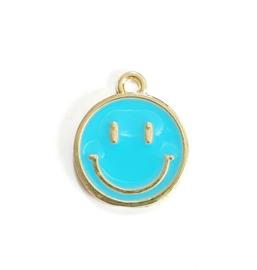 Bedel smiley blauw goud 19x16 mm