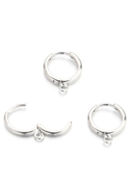 Oorring hoops met oogje zilver 16,5x13,5 mm silver plated