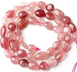 Natuursteen nugget kralen Cherry quartz 10 stuks 5-8 mm