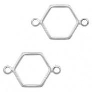 Bedel / connector / tussenstuk hexagon zilver