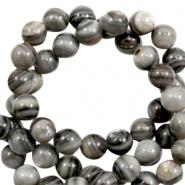 Schelp kraal grijs bruin multi color 4 mm rond