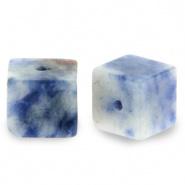 Natuursteen kralen square blauw wit 4 mm