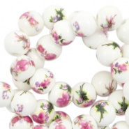 Keramiek kralen wit aubergine 6 mm