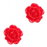 Bloem kraal rood lollipop roosje 10 mm