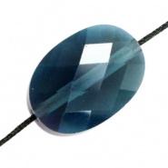 Facetkraal blauw donker ovaal