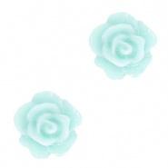Bloem kraal blauw turquoise licht roosje 10 mm