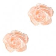 Bloem kraal peach creamy pearl shine roosje 6 mm