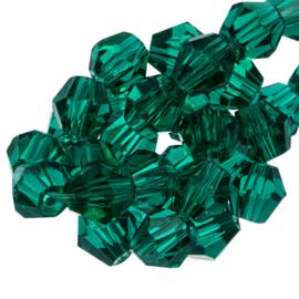 Facetkraal groen donker 6 mm 50 stuks bicone