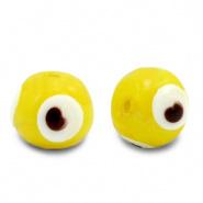 Evil eye kralen geel 6 mm glas