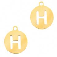 Bedel initial H goudkleurig RVS