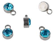 Bedel met strass blauw aqua mini RVS