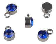 Bedel met strass blauw mini RVS