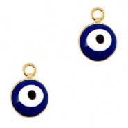 Bedel evil eye blauw goud 6 mm
